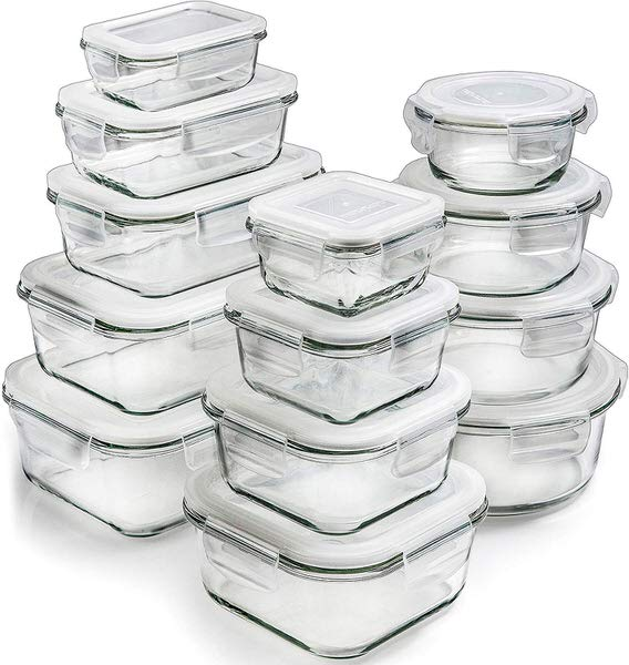 Prep Naturals Glass Storage Containers with Lids