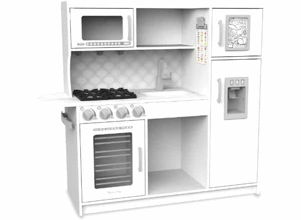 KidKraft Modern White Play Kitchen with Gold Accents