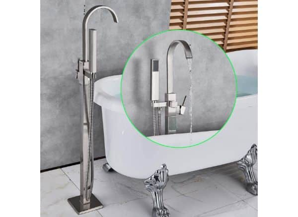 Rozin Floor Mounted Tub Faucet Single Handle Swivel Spout Bathtub
