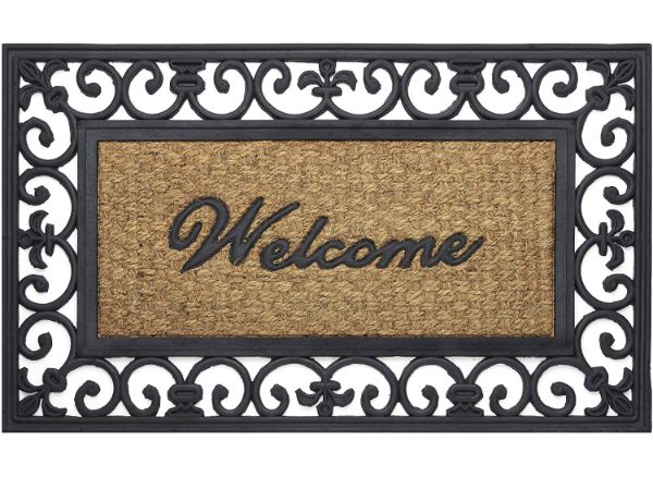 Achim Home Furnishings Fleur De Lis Wrought Iron Rubber Door Mat