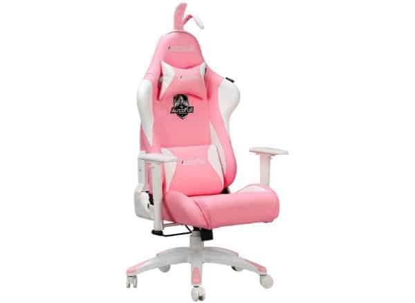 AutoFull Pink Gaming Chair PU Leather