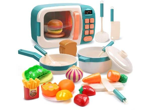 Cute Stone Microwave Toys Kitchen Play Set