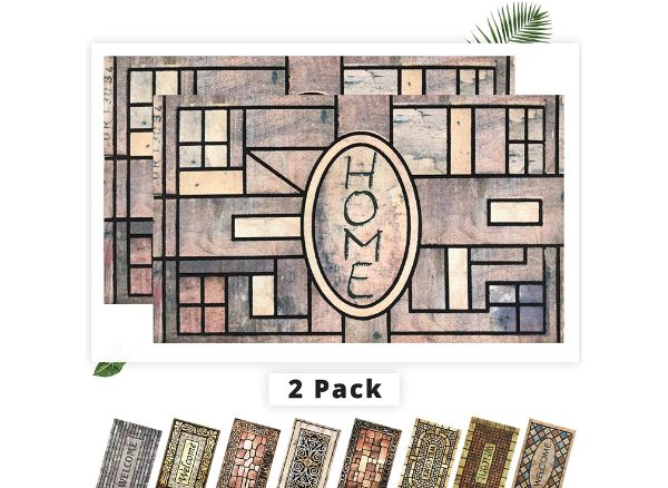 EZHOMEE Outdoor Rubber Welcome Door Mat