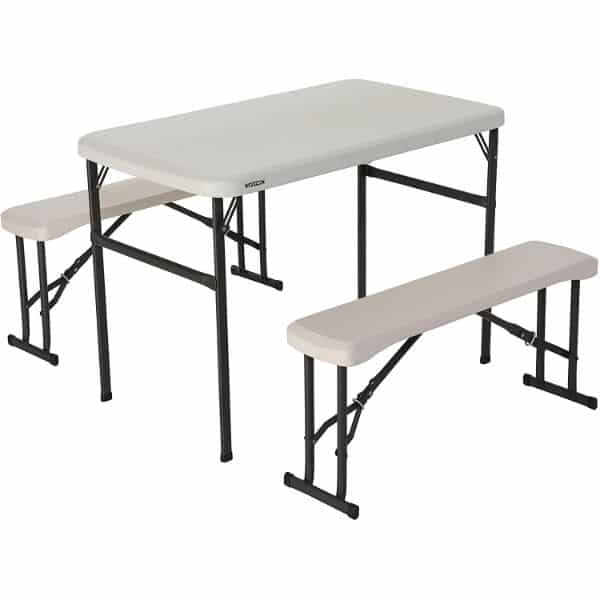 Lifetime 80373 Portable Folding Camping Taxable and Bench Set