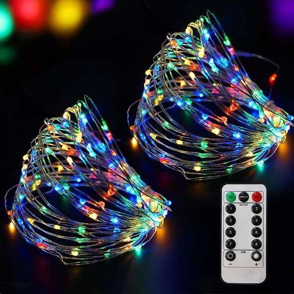 Bright Zeal 200 LED 66 Ft Multi-colored Battery Operated Fairy Lights