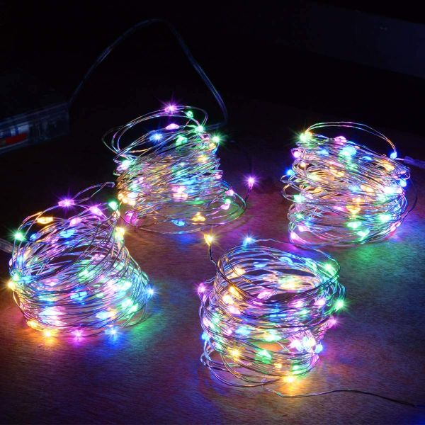 Abkshine 50 LEDS 4-Pack Multicolored Battery Operated Fairy Lights