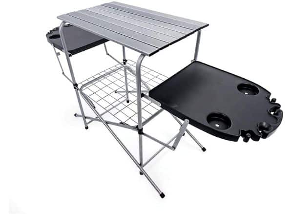 Camco Deluxe Foldable Outdoor Grilling Table with Side Tables
