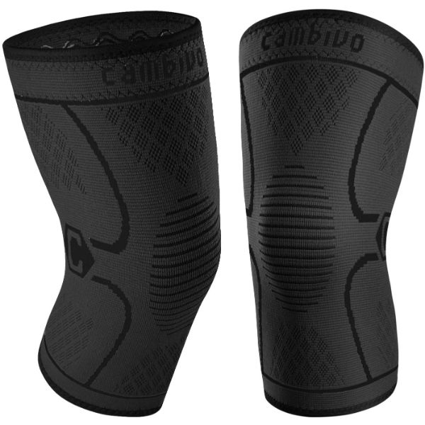 CAMBIVO 2 Pack Knee Brace, Knee Compression Sleeve Support for Men and Women