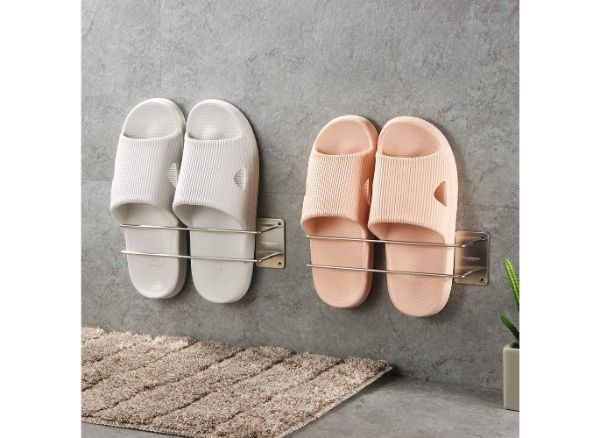HOUSEMEMBER Wall Mounted Shoe Rack Bathroom Slipper Rack and Organizer