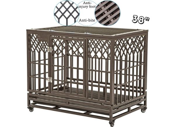 SMONTER Strong Heavy-Duty Dog Crate