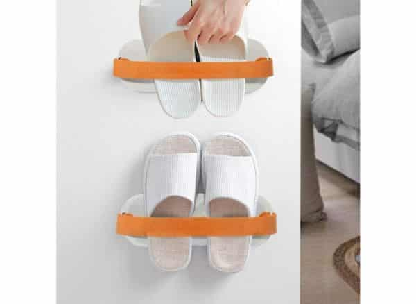 BIMAG Wall Mounted Shoe Rack, Shoe Organizer Rack, Plastic Door Shoe Hanger