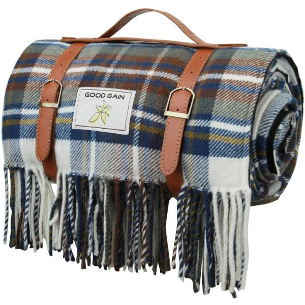 Good Gain Wool Picnic Blanket with Waterproof Backing and Handle