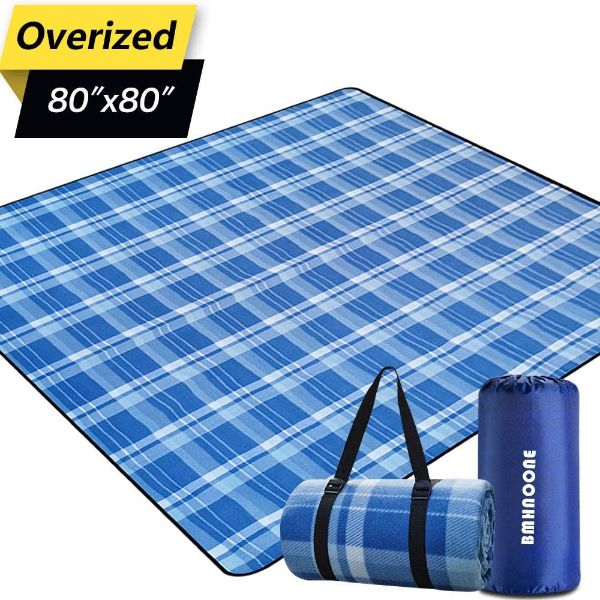 BNHNOONE Outdoor Picnic Blanket, Extra Large Picnic Blanket with Backpack