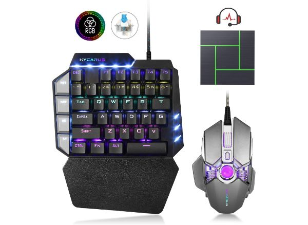 HYCARUS One-Handed Mechanical Gaming Keyboard and Gaming Mouse Combo