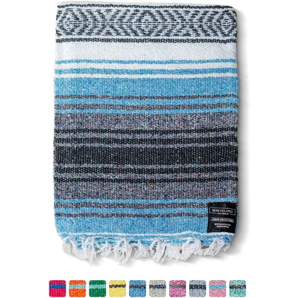 Benevolence LA SkyBlue Mexican Blanket