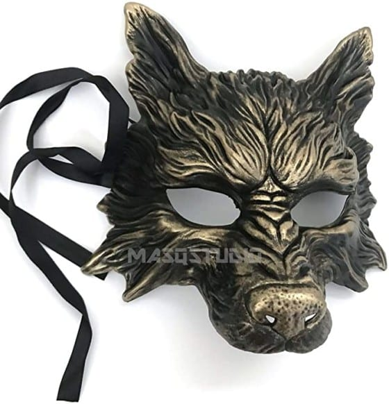 MasqStudio Gold Black Wolf Mask for Halloween, Masquerade, Costume Party