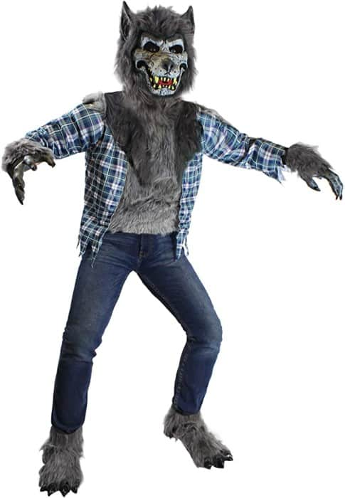 Spooktacular Howling Werewolf Kids Costume Set with Mask for Halloween