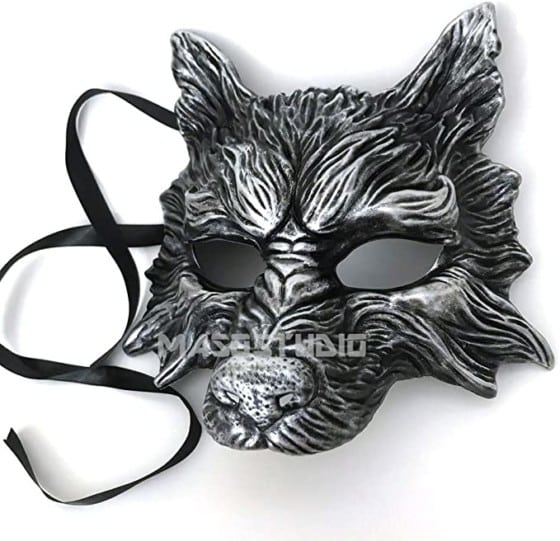 MasqStudio Black Silver Wolf Mask for Halloween, Masquerade, Costume Party