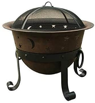 Catalina Creations Round Heavy-Duty Iron Fire Pit For Outdoor With Spark Screen & Accessories