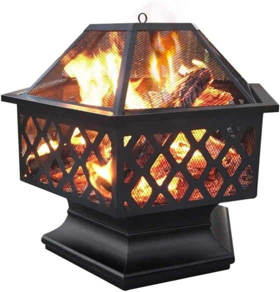 Yaheetech Hexagon Heavy-Duty Iron Portable Firepit With Spark Screen Cover