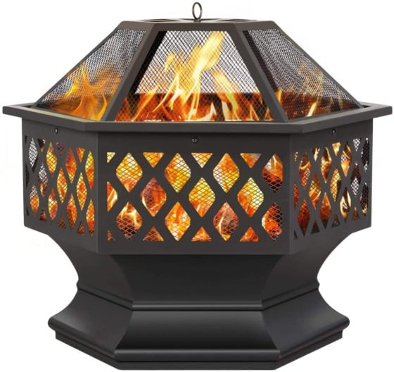 Yaheetech Hexagon Portable Fire Pit With Poker And Spark Screen Cover